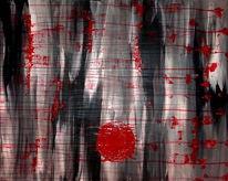 Japan, Blut, Abstrakt, Acrylmalerei
