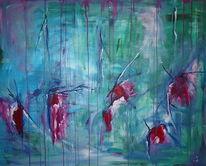 Abstrakt, Acrylmalerei, Blau, Wunde