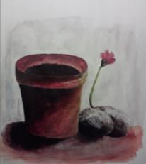 Blumentopf, Farben, Malerei