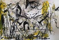 Abstractpainting, Abstrakte kunst, Schwarz weiß, Liebe