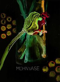 Mohnvase, Mohn, Grafik, Illustrationen