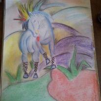 Punk, Blaues pferd, Kreidezeichnung, Kohlezeichnung