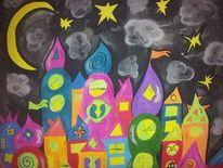 Acrylmalerei, Stadt, Nacht, Malerei