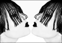 Gothic, Gesicht, Schwarz weiß, Spiegelung