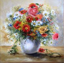 Vase, Rot, Ölmalerei, Blumen