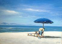Ölmalerei, Blau, Sonnenschirm, Hut