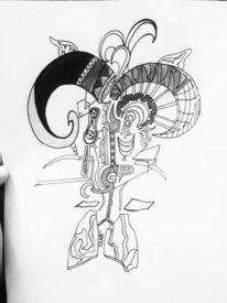 Horn, Augen, Bleistiftzeichnung, Chaos
