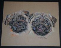 Hund, Pastellmalerei, Kreide, Zeichnungen