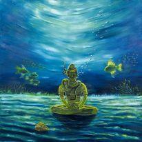 Meditation, Fantasie, Unterwasser, Malerei