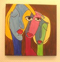 Menschen, Abstrakt, Gesicht, Acrylmalerei