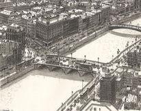 Fluss, Brücke, Verkehr, Stadt