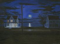 Wasserfarbe, Mond, Realismus, Schwarz
