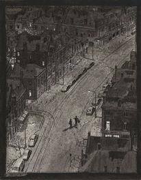 Stadt, Realismus, Abend, Zeichnung