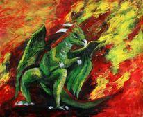 Fantasie, Drache, Ein bischen böse, Feuer
