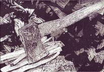 Holz, Tuschmalerei, Axt, Beil