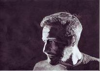Portrait, Mann, Sänger, Tusche