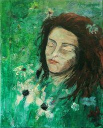 Blumen, Wiese, Schlaf, Frau