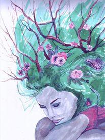 Blumen, Zweig, Frau, Mischtechnik