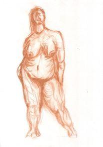 Frau, Akt, Fleisch, Zeichnung