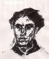 Zeichnung, Mann, Ausdruck, Schwarz weiß