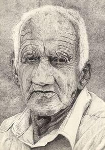 Mann, Portrait, Falten, Tuschmalerei