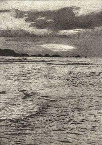 Grau, Meer, Wolken, Zeichnung