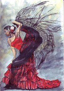 Tuch, Tanz, Frau, Rot