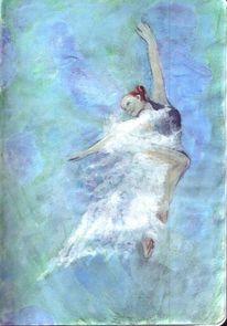 Frau, Tanz, Wolken, Schleier
