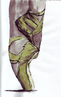 Tuschmalerei, Füsse, Schuhe, Ballett
