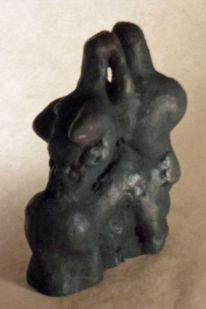 Frau, Mann, Skulptur, Schwarz