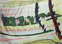 Grün, Landschaft, Gelb, Tuschmalerei