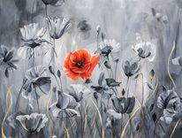 Schwarzweiß, Mohnblumen, Blumenwiese, Malerei