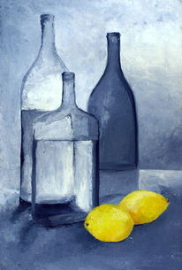 Flasche, Zitrone, Naturmort, Schatten