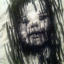 Augen, Portrait, Kohlezeichnung, Zeichnung
