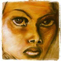 Kohlezeichnung, Realismus, Kreide, Portrait