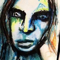 Portrait, Aquarellmalerei, Realismus, Augen