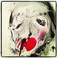 Kreide, Acrylmalerei, Kohle abstrakt gesicht, Mischtechnik