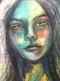 Portrait, Gesicht, Aquarellmalerei, Emotion
