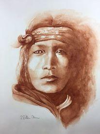 Aufgewühlt, Indianer, Junger mann, Portrait