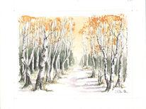 Birken, Gegenständlich, Wald, Naturgetreu
