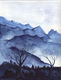 Landleben, Berge nebel, Baum, Berge
