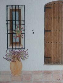 Fenster, Idylle, Innenhof, Spanien