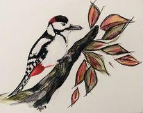 Vogel, Aquarellmalerei, Tiere, Buntspecht