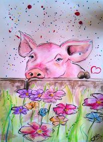 Bunt, Tierfreund, Wasserfarben, Zeichnung