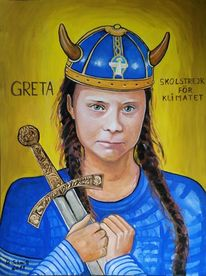 Greta thunberg, Wickinger, Malerei