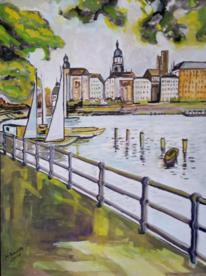 Hamburg, Alster, Wasser, Malerei