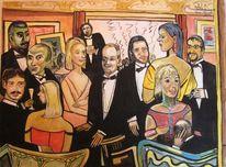 Party, Beckmanns, Gouachemalerei, Malerei