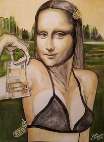 Portrait, Mona lisa, Gouachemalerei, Malerei