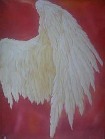 Energie, Weiß, Flügel, Acrylmalerei