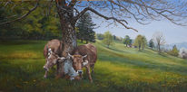 Landschaft, Swiss, Ölmalerei, Cows on canvas
